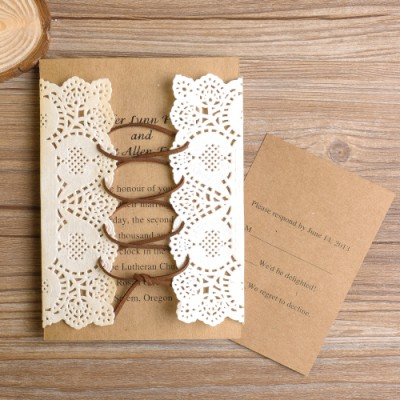 vintage lace pocket ribbon wedding invitations