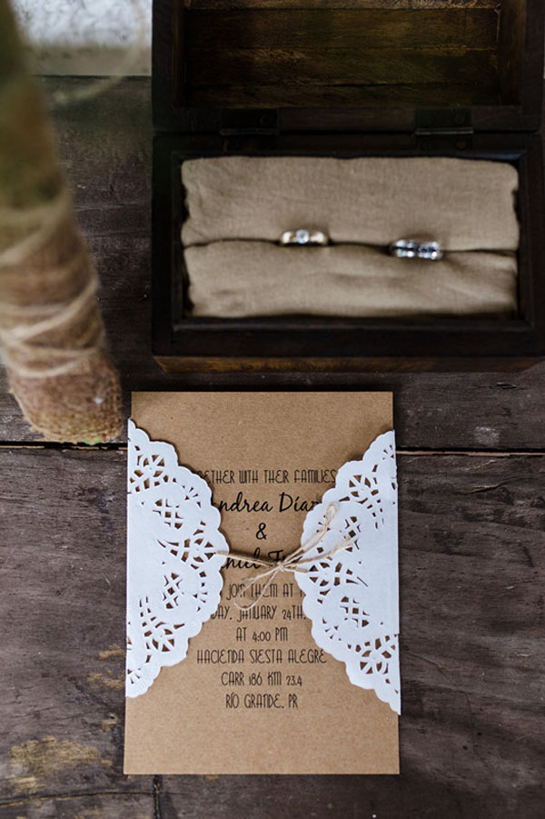 vintage rustic lace pocket wedding invitations