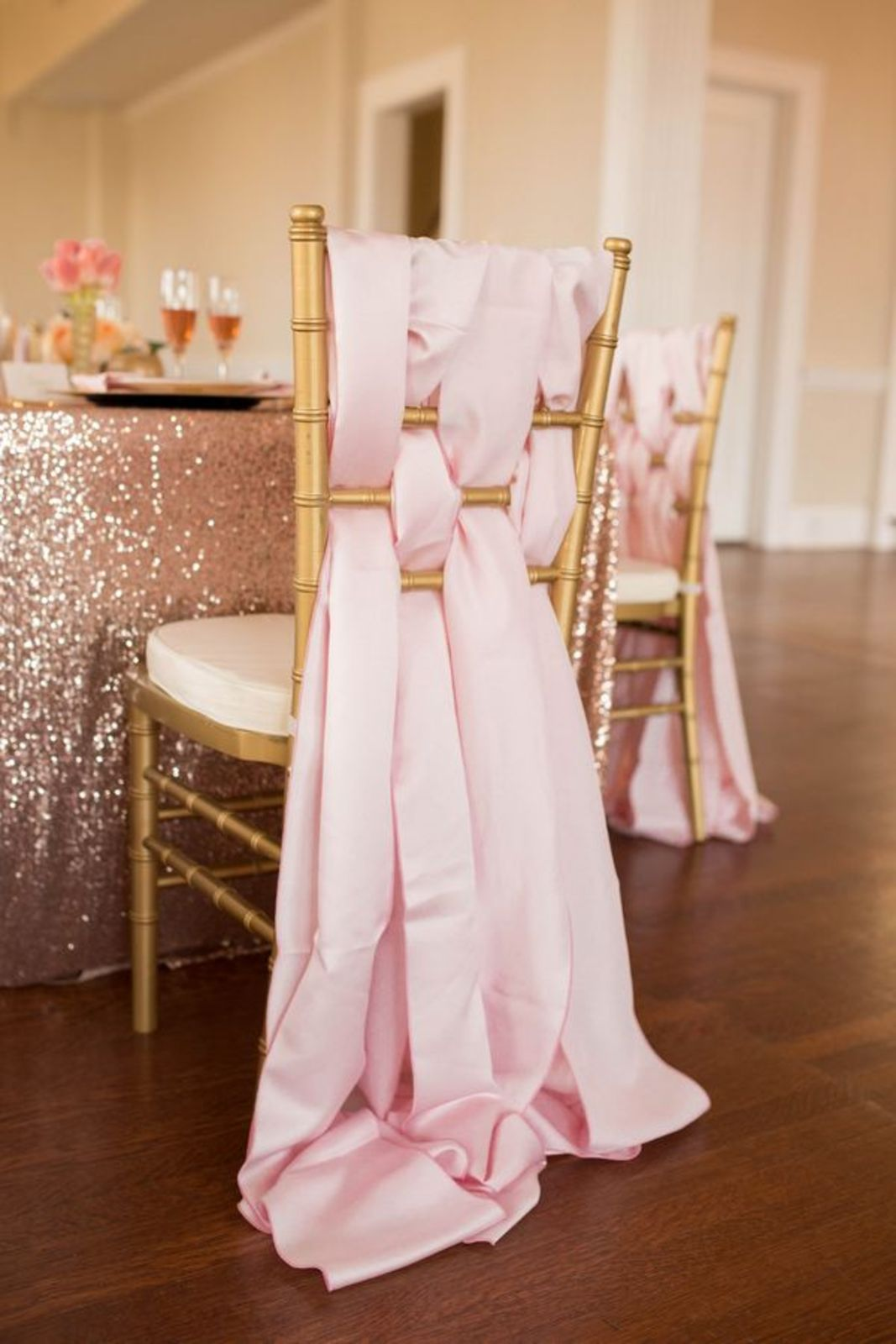 weaved pink satin sashes wedding chair decor ideas