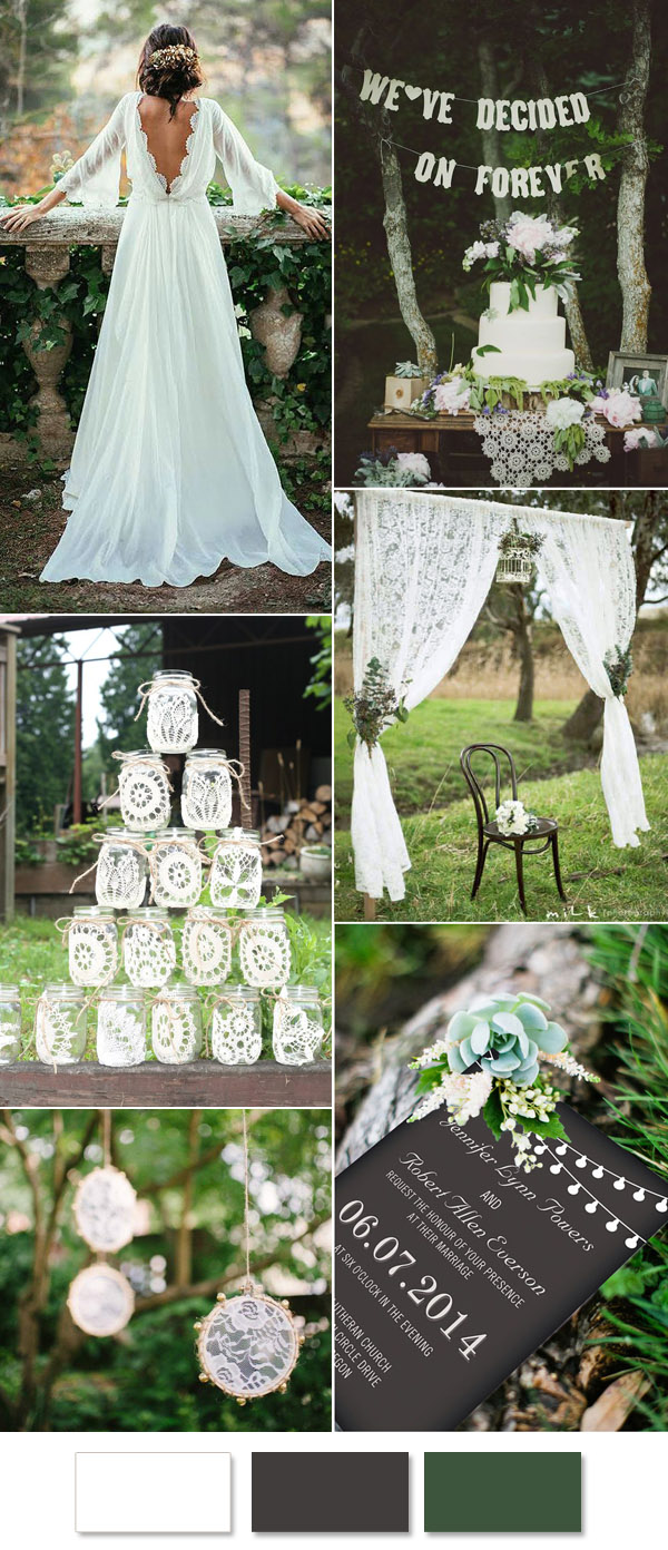 white lace woodland wedding ideas