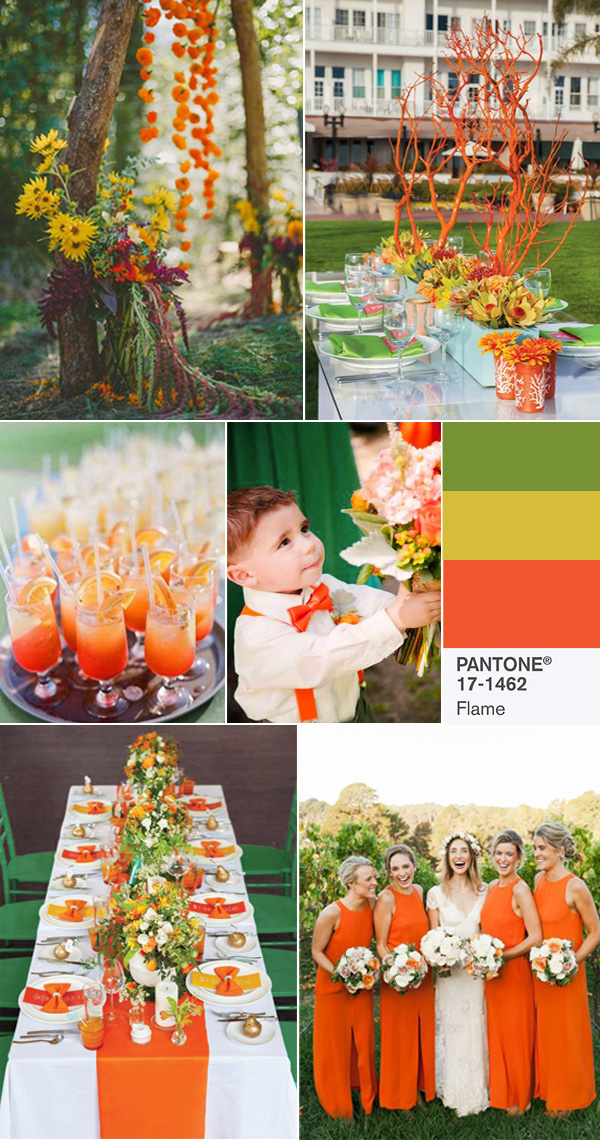 2017 pantone flame and green wedding color ideas