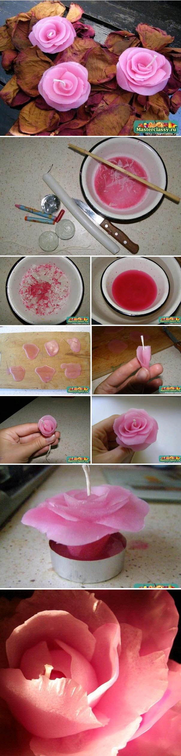 DIY a rose candle tutorial for wedding ideas