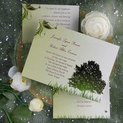 beautiful country rustic wedding invitations with green trees