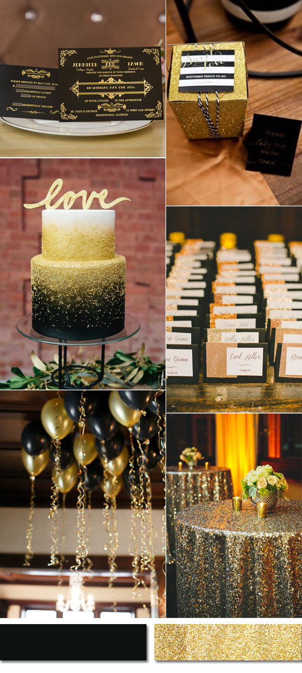 black and glitter gold wedding invitations