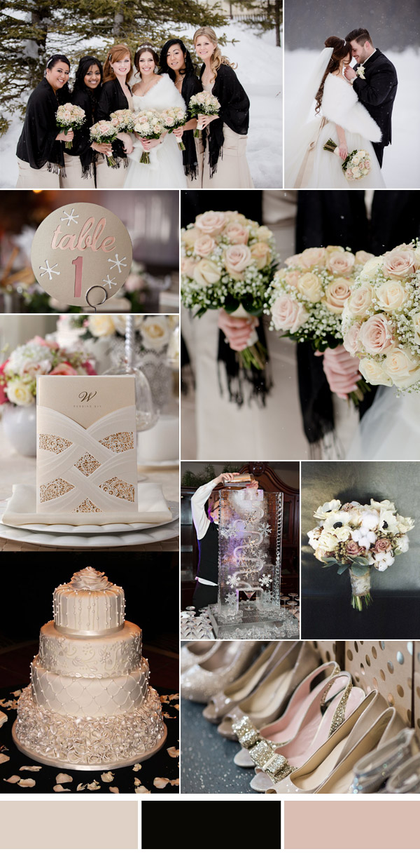 blush , ivory and black elegant winter wedding color ideas