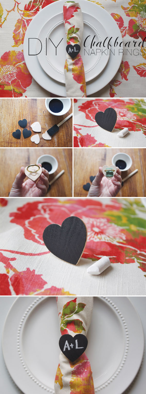 chalkboard napkin rings for wedding place setting