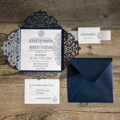 classic nautical navy blue laser cut wedding invitations