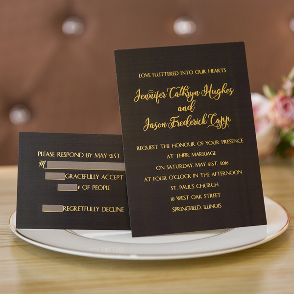 foil gold and black wedding invitations