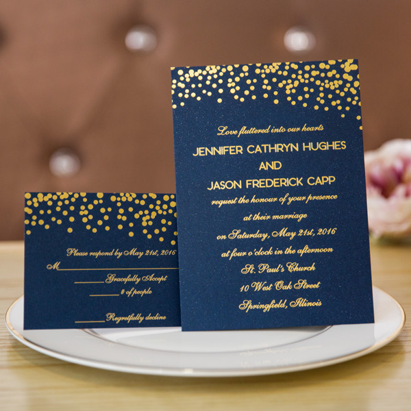 foil gold polka dots and navy blue wedding invitation