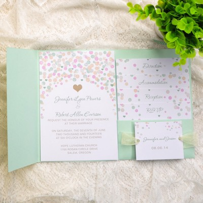 mint green polka dot pocket wedding invitations