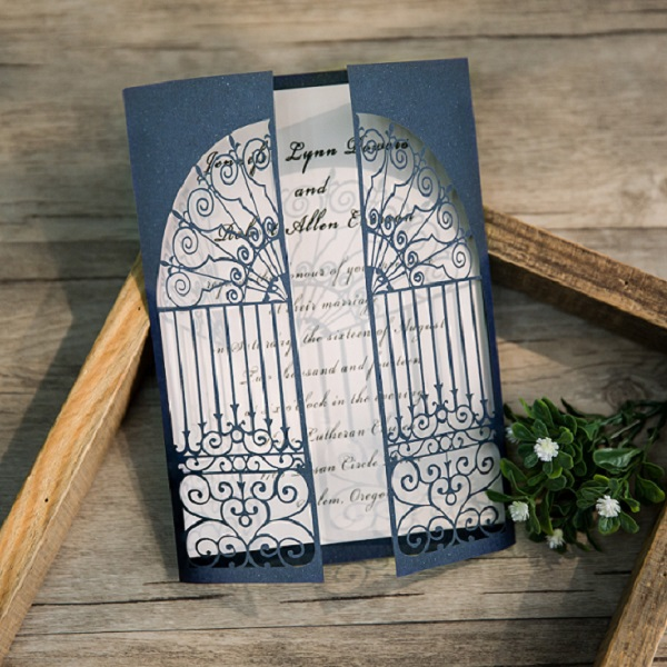 modern navy blue gate folded laser cut wedding invitations