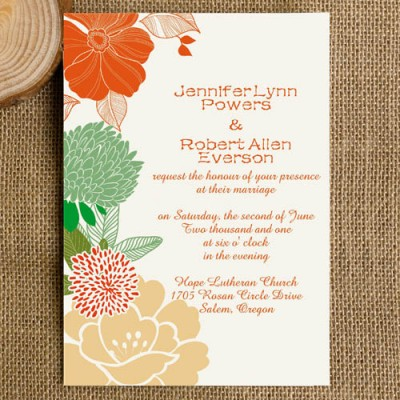 orange green and yellow flowers bohemian wedding invites