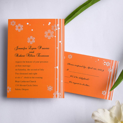 orange snowflake winter cheap printable wedding invitations
