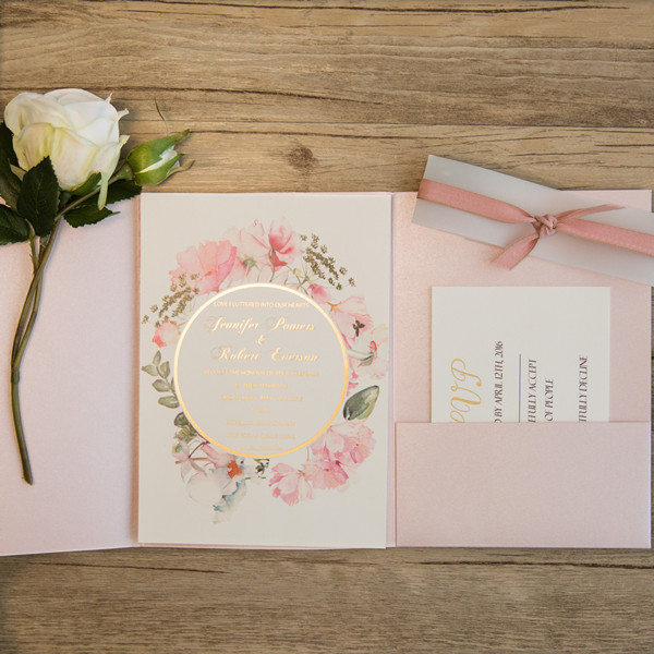 pink and gold glitter pocket wedding invitations with flowers