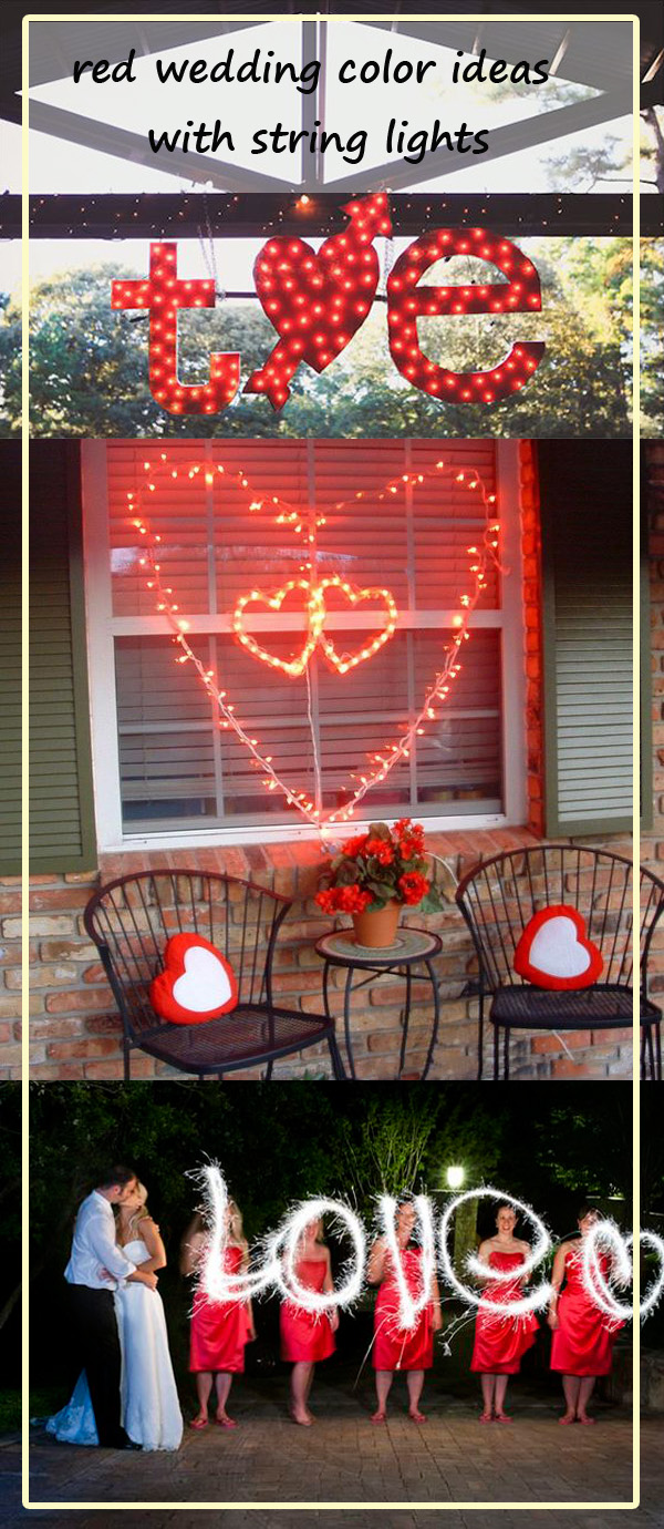 popular red wedding color ideas with lights