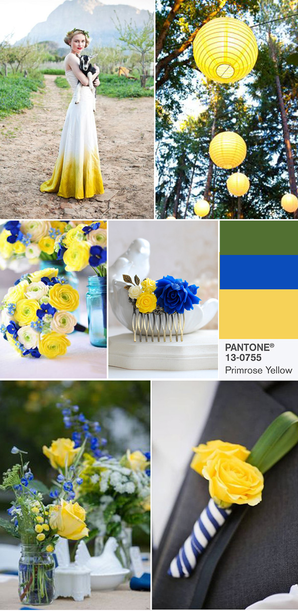 Primrose Yellow And Cobalt Wedding Color Ideas