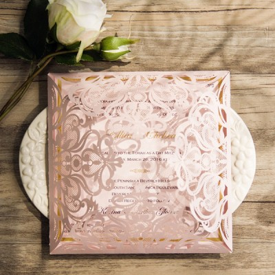 romantic blush pink laser cut gold foil stamped wedding invitations