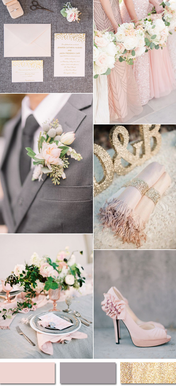 romantic grey and blush pink weddimg color ideas with invitations