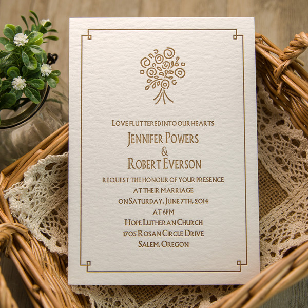 rustic brown bouquet letterpress super thick wedding invitations