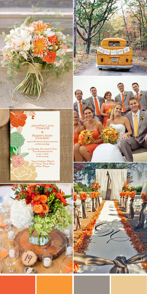 rustic orange and gray wedding color inspiration