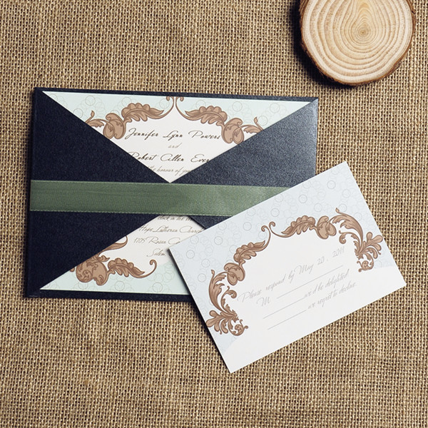 sage green ribbon vintage pocket wedding invitations