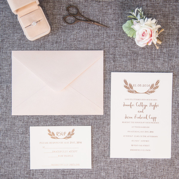 simple rose gold wheat wedding invitations