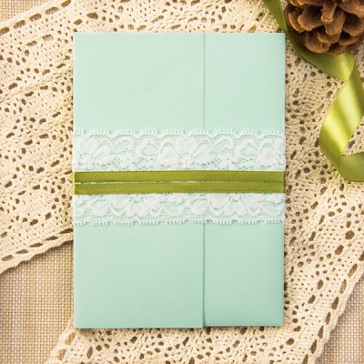 spring nude watercolor stripes green pocket lace wedding invites