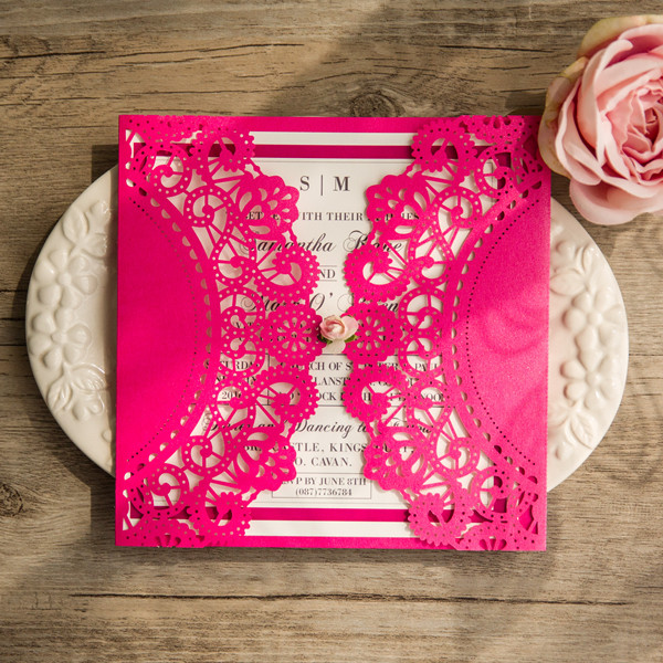 summer hot pink laser cut wedding invitation with pink paper flower