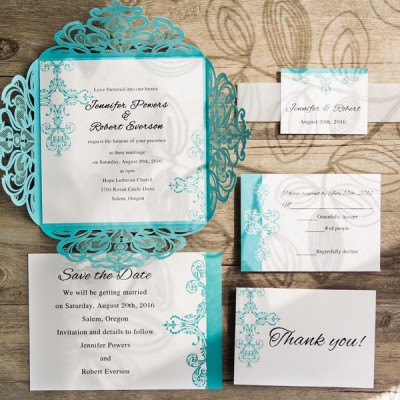 tiffany blue swirl laser cut wedding invitations