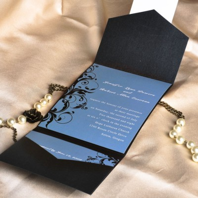 vintage blue and black damask pocket wedding invites