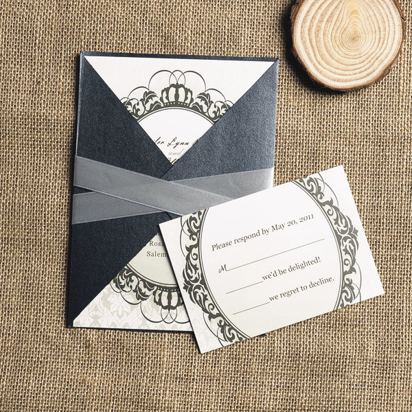 vintage green crown black pocket wedding invitation
