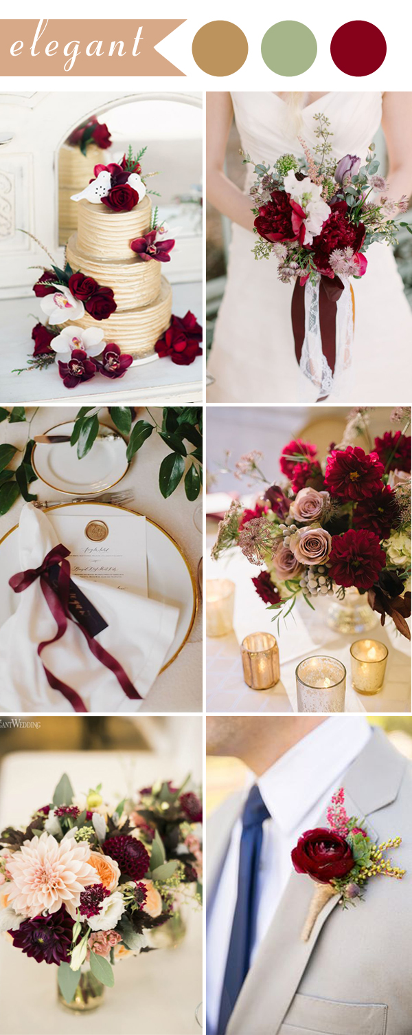 Perfect burgundy wedding themes ideas for