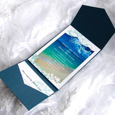 Blue beach cards with cheap blue pockets wedding invitation kits