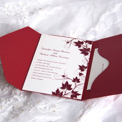 Fancy red winery pocket wedding invitation