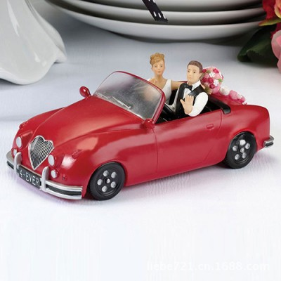 "Honeymoon Bound"" Couple In Red Car Cake Topper"