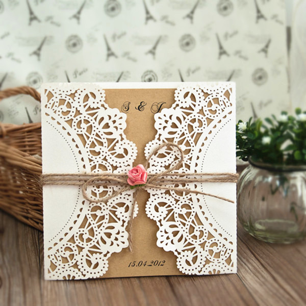 affordable lace laser cut wedding invitations with pink flowers
