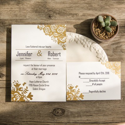 affordable traditional gold foil floral wedding invitations