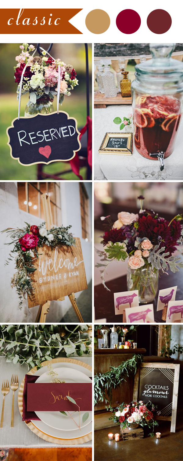 Classic Chalkboard Burgundy Wedding Color Ideas