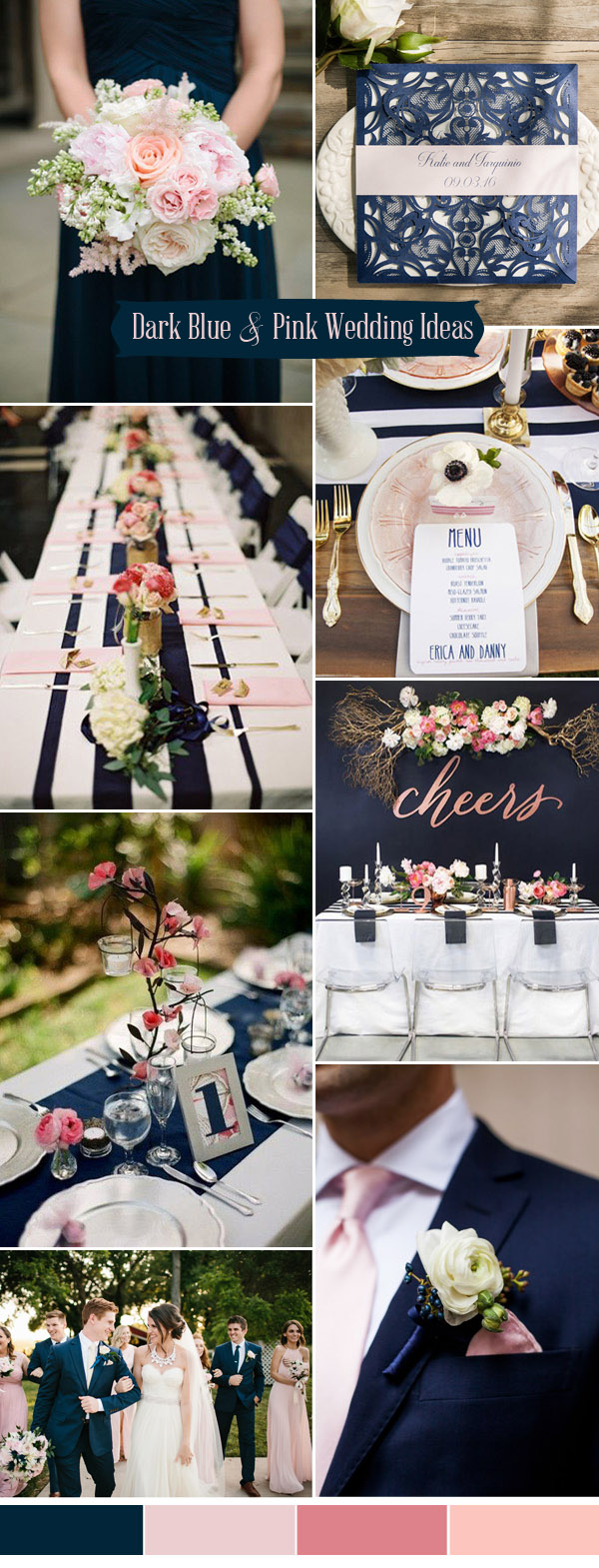 dark blue and pink country wedding color palette ideas