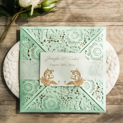 elegant mint green laser cut wedding invitations