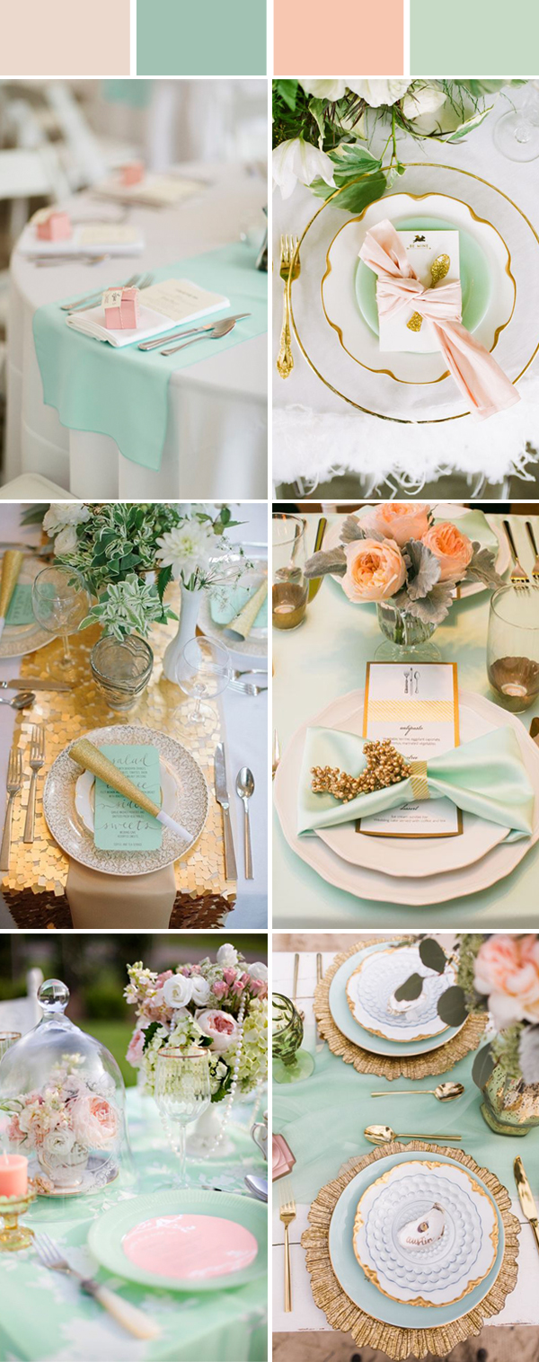 elegant peach and mint wedding table setting ideas