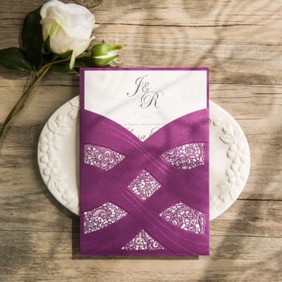 elegant purple and silver laser cut foil stamped wedding invitations