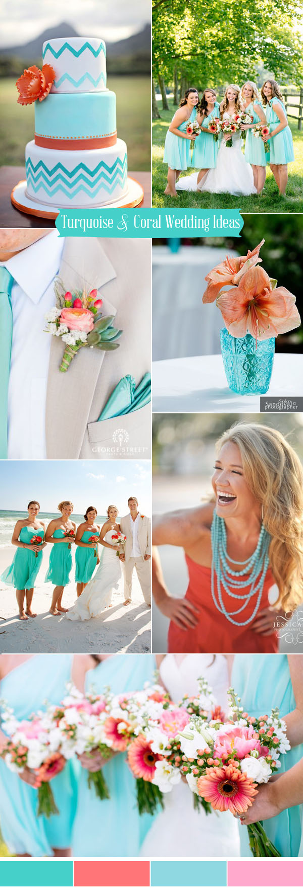fresh turquoise and coral summer wedding colors for 2017