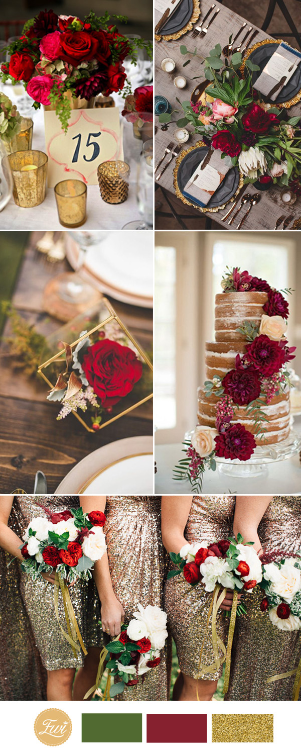 gold and red wedding color ideas