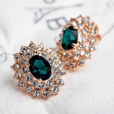 gold plated emerald green stud earrings wedding gifts