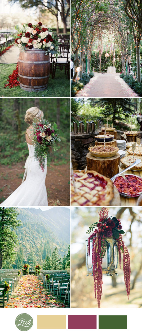green and marsala wedding color ideas for 2017