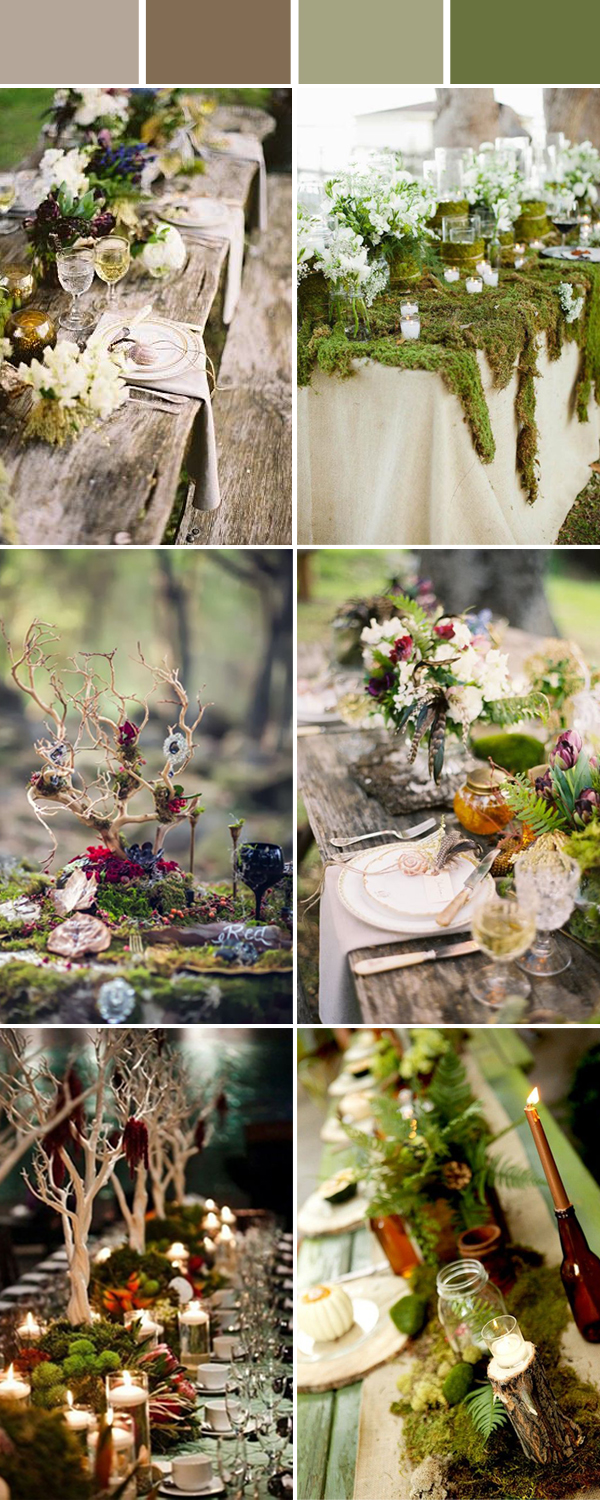 greenery forest wedding tablescapes ideas