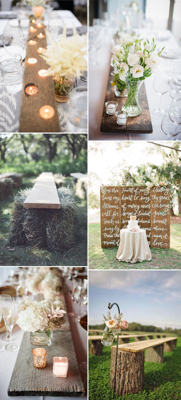 inspirational wedding ideas with big wood boards and wood doors