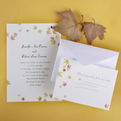 ivory and yellow maple leaves fall affordable wedding invitation