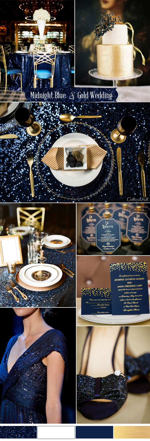 midnight blue and gold glamour wedding ideas